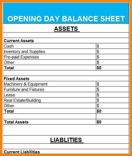 9+ opening balance sheet template   resume language