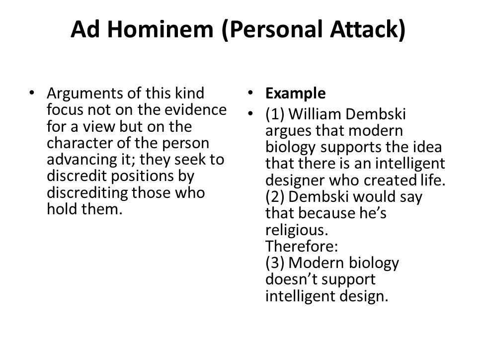 Logical Fallacies Created by J. Nelson. Ad Hominem (Personal ...