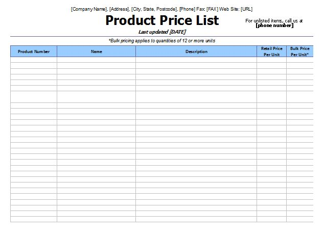 8 Price List Templates to Make Any Kind of Price List
