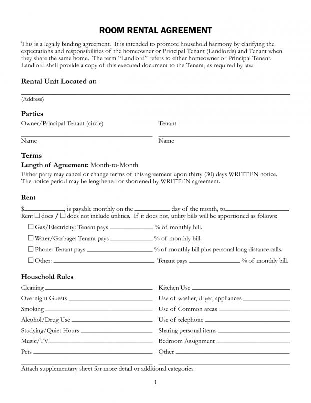 Landlord And Tenant Agreement Template Free Simple Residential 12 ...