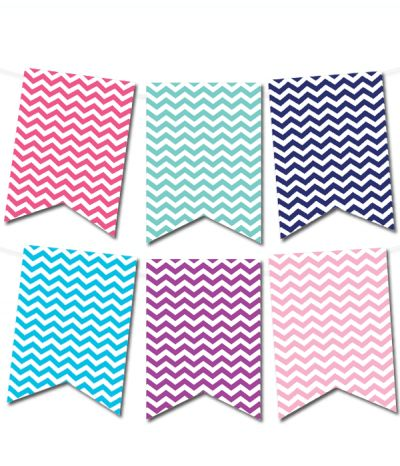 Free Printable Chevron Pennant Banner from printablepartydecor.com ...