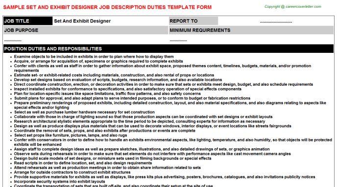 Set And Exhibit Designer Job Title Docs