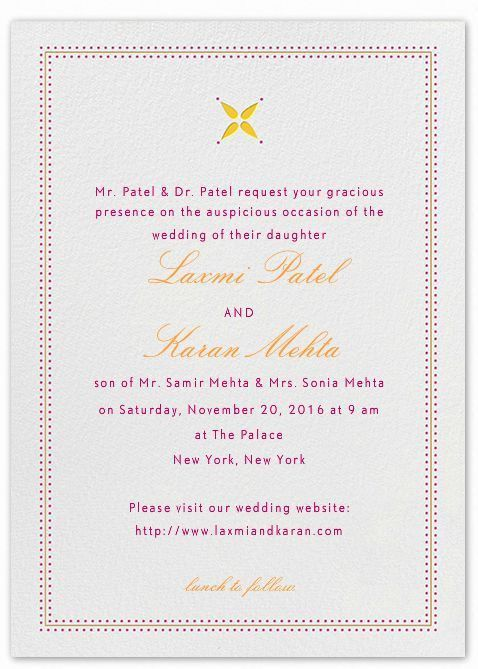 Indian wedding invitation wording template - Shaadi Bazaar
