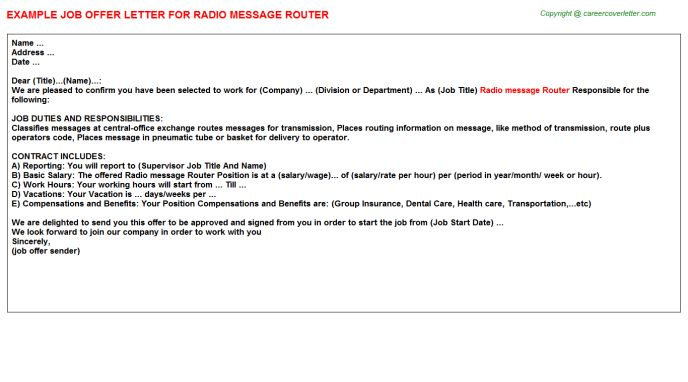 Radio Message Router Offer Letter