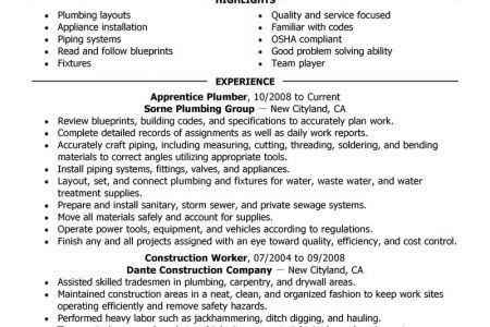 Sample Plumbing Resume Examples - Reentrycorps