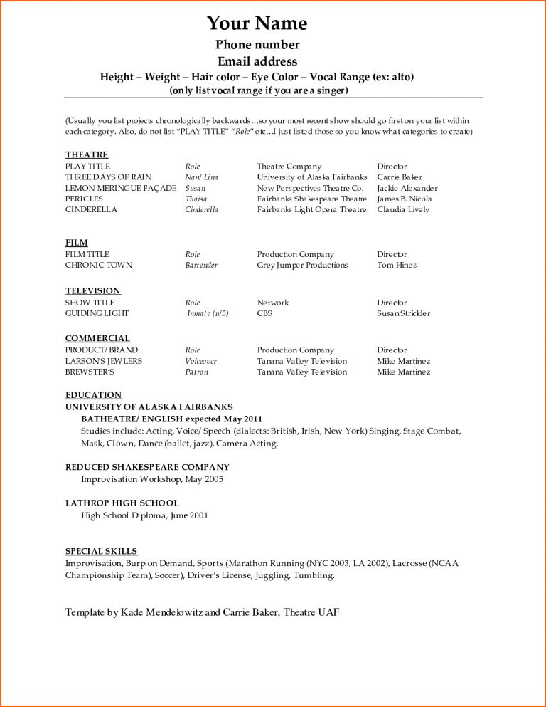Gorgeous Inspiration Dance Resume Template 8 Sample Dance Resume ...