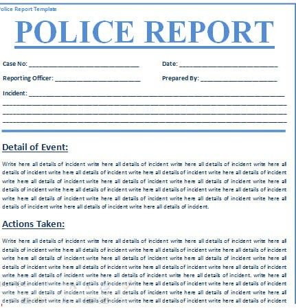 Police Report Template Free | Free Business Template