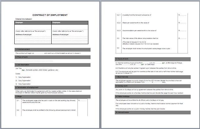 Labor Contract Template | Microsoft Word Templates