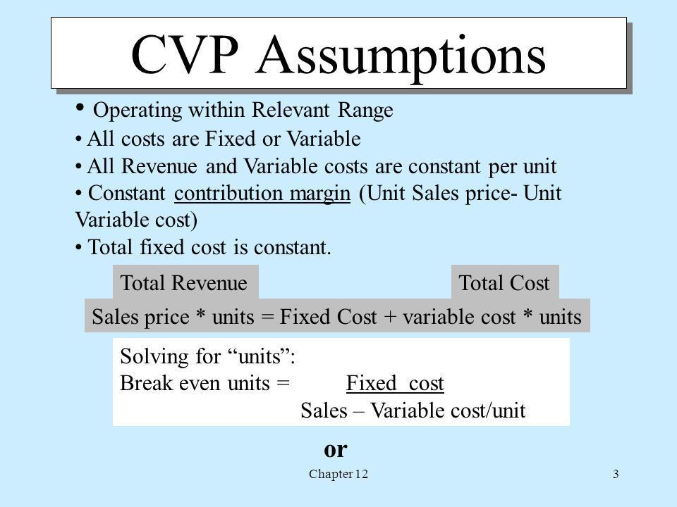 Chapter 12 Cost-Volume-Profit Analysis. Chapter 122 Chapter 12 ...