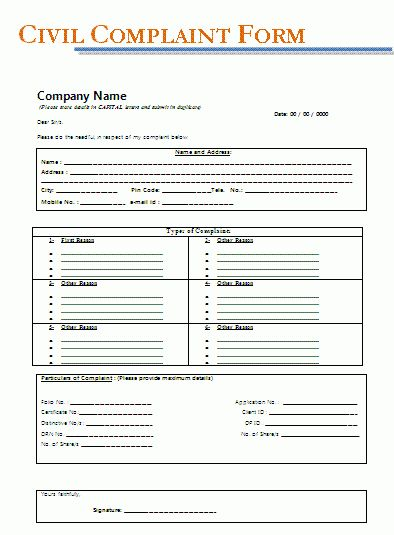 Civil Complaint Form | A to Z Free Printable Sample Forms