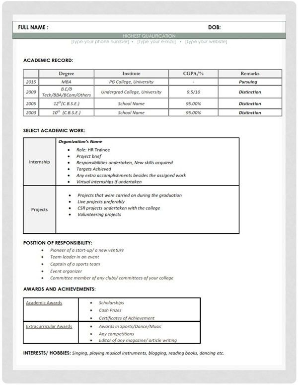 Resume/CV Sample Format - Human Resources (HR) Fresher | MBA Skool ...