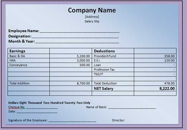 Nice Template Example of Monthly Payslip with Company and Employee ...