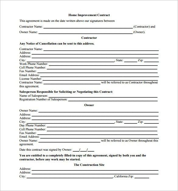 3+ Renovation Contract Templates – Free Word, PDF Format Download ...