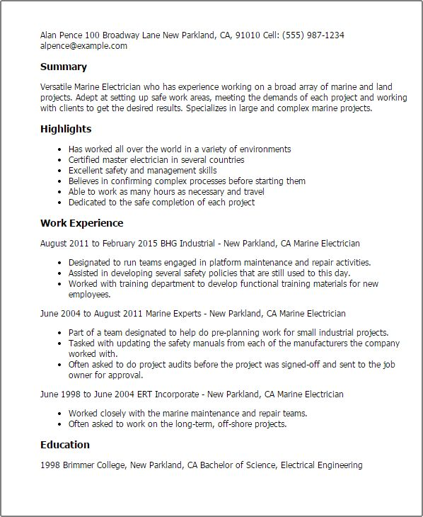 Marine Electrical Engineer Sample Resume 20 Click Here To Download ...