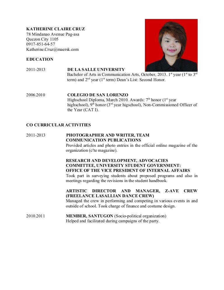 katherine claire cruz dlsu resume updated