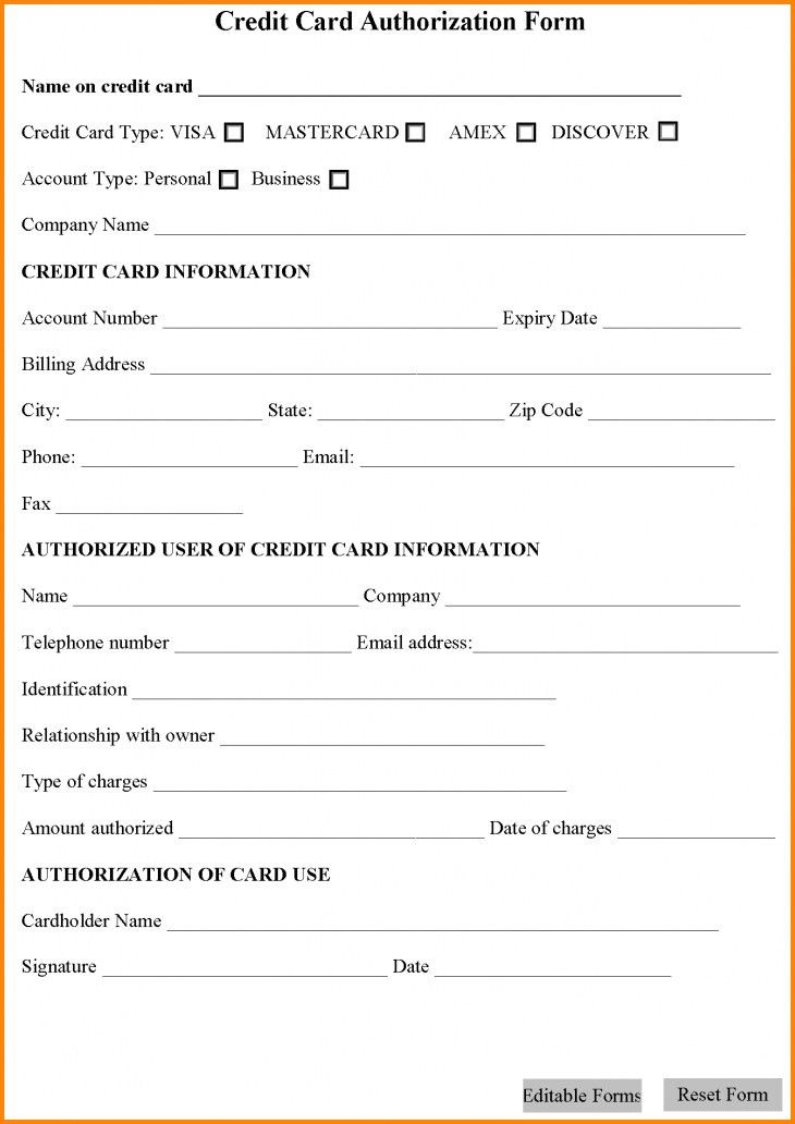 Sample Credit Card Authorization Form. Form Template Credit Card ...