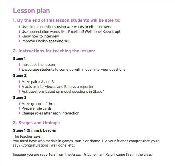 Sample Teacher Lesson Plan Template. Preschool Teacher Lesson Plan ...