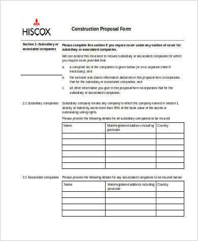 8+ Construction Form Samples - Free Sample, Example, Format Download