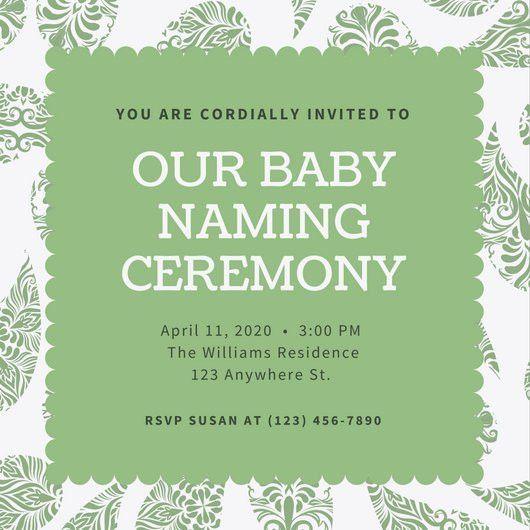 Green Paisley Baby Naming Ceremony Invitation - Templates by Canva
