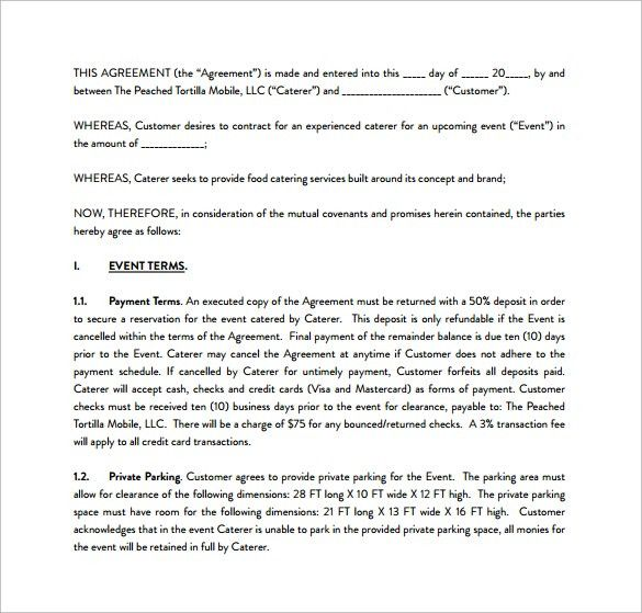 Catering Contract Template - 9+ Download Free Documents in Word, PDF