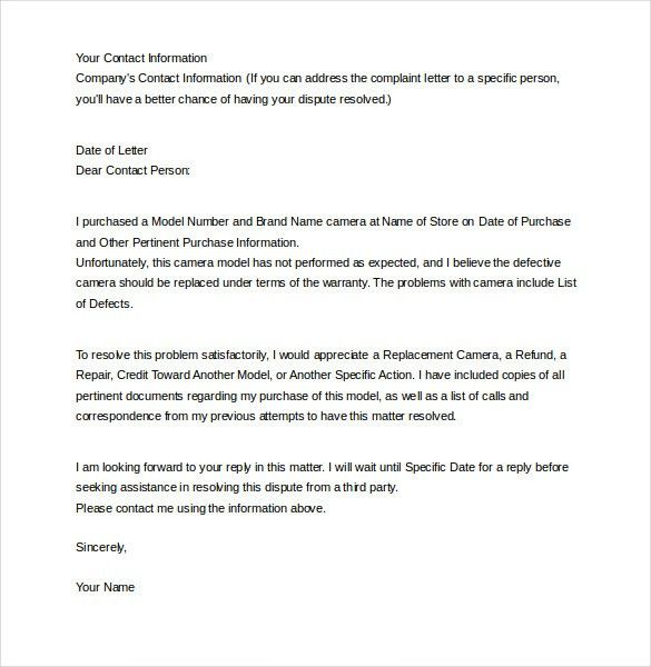 12+ Letter of Complaint Templates – Free Sample, Example, Format ...