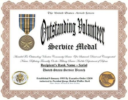 Outstanding Volunteer Service Medal and Display Recognition