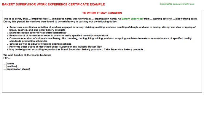 Bakery Supervisor Work Experience Certificate