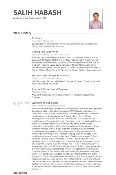 entry level petroleum geologist resume. example of a resume ...