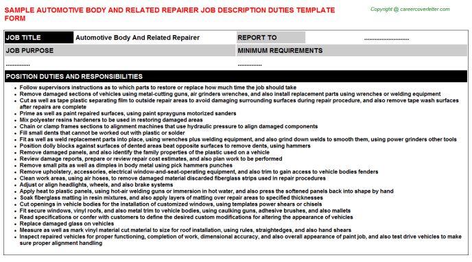 Automotive Body Shop Manager Job Descriptions