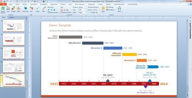 a Timeline PowerPoint Template using Office Timeline