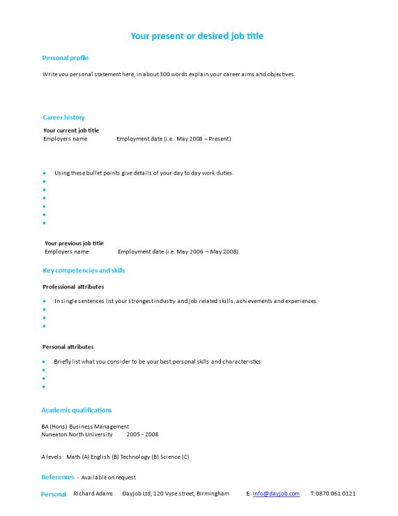 CV template: How to write a CV, Resume or Biodata overview ...