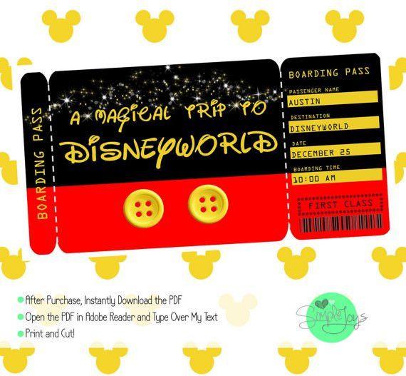Printable Ticket to Disney by SimpleJoysStudio on Etsy … | Pinteres…