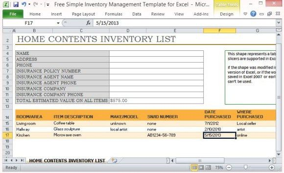 6+ Home Contents Inventory List Templates – Word Templates