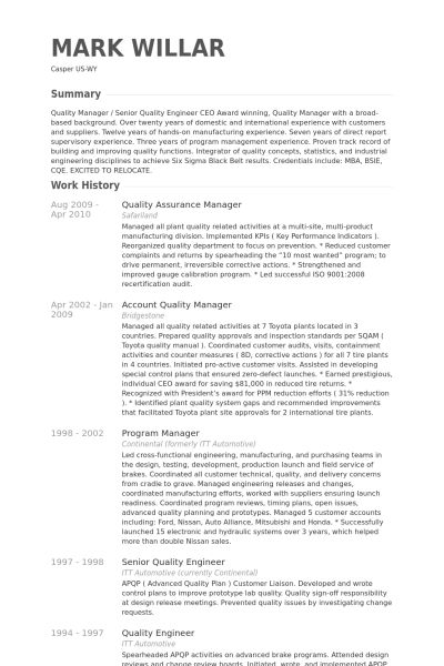 Quality Assurance Manager Resume samples - VisualCV resume samples ...