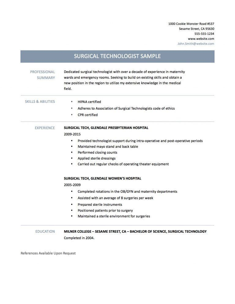 Gorgeous Inspiration Surgical Tech Resume Sample 1 Surgical Tech ...