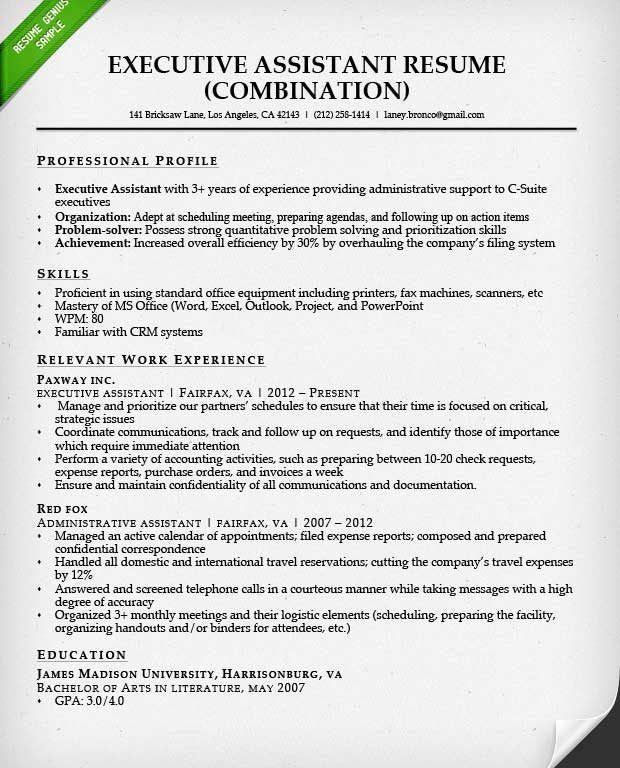 sample of a combination resume