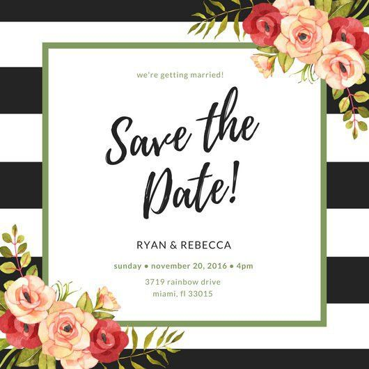 Stripes and Floral Save The Date Invitation - Templates by Canva