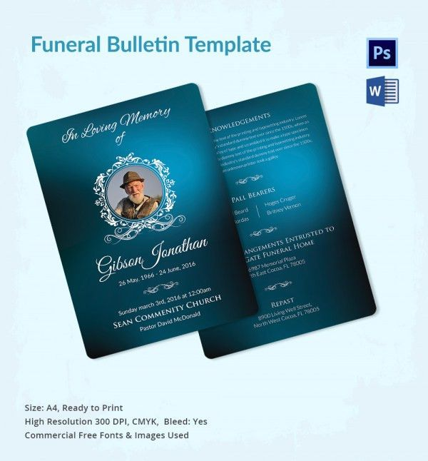 Funeral Bulletin Template - 5+ Word, PSD Format Download | Free ...