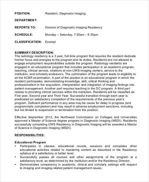 Sample Radiologist Job Description - 10+ examples in word, pdf