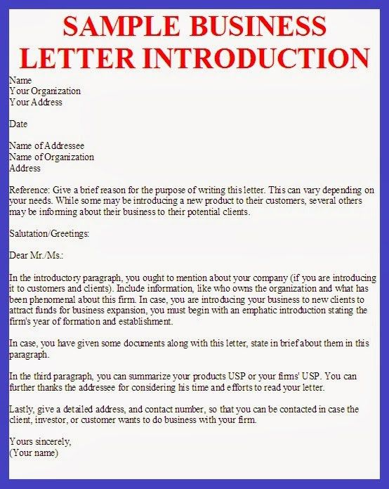 Introduction Letters. Business Letters Of Introduction Letter-Of ...