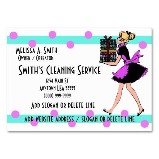 Polka Dot Cleaning Service Business Cards | Cleaning Business ...