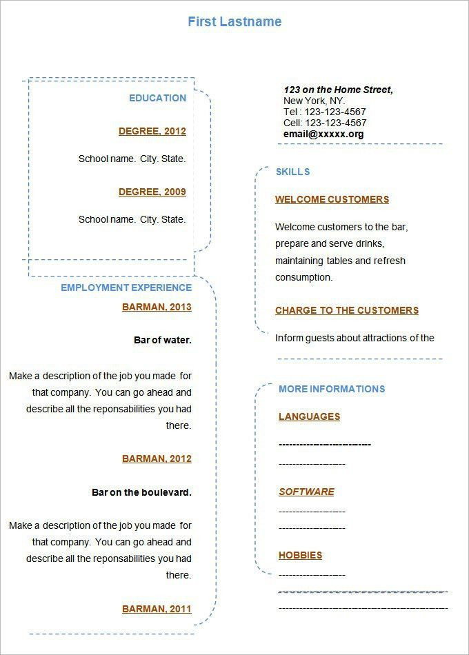 Free Blank Resume Templates For Microsoft Word | Template Design