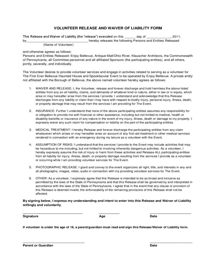 Volunteer Waiver and Release of Liability Sample Form Free Download
