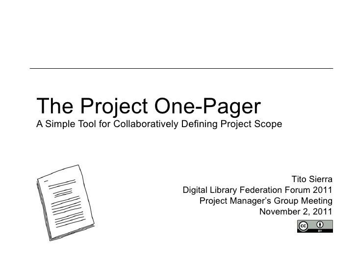 The Project One-Pager: A Simple Tool for Collaboratively Defining Pr…