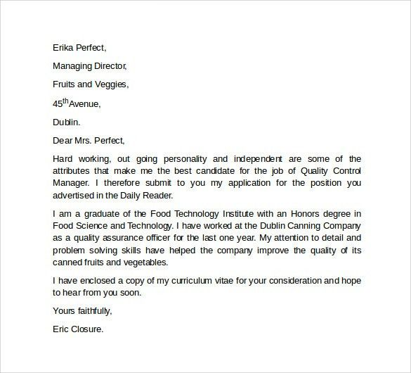 Sample Professional Cover Letter Template -10+ Download Free ...