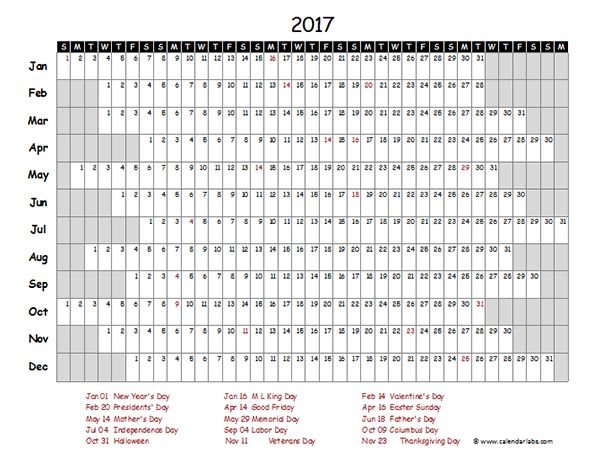 2017 Excel Calendar Project Timeline - Free Printable Templates