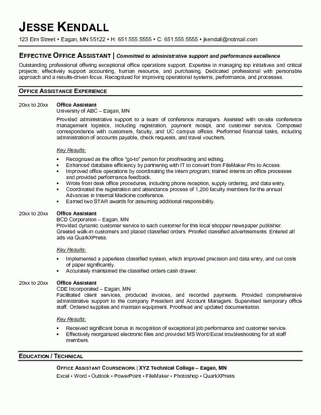 office assistant resume entry level - Writing Resume Sample ...