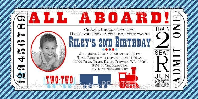 Train Ticket Printable Birthday Invitation - Dimple Prints Shop