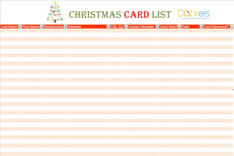 Christmas card list template (For Excel®) - Dotxes