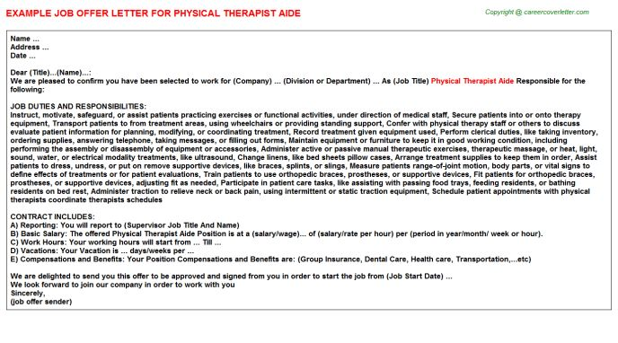Physical Therapist Aide Offer Letter